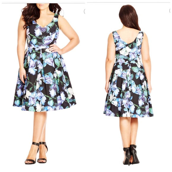 9eb11ff6f9d59 Bright Bunch Floral Print Pleat Fit   Flare Dress